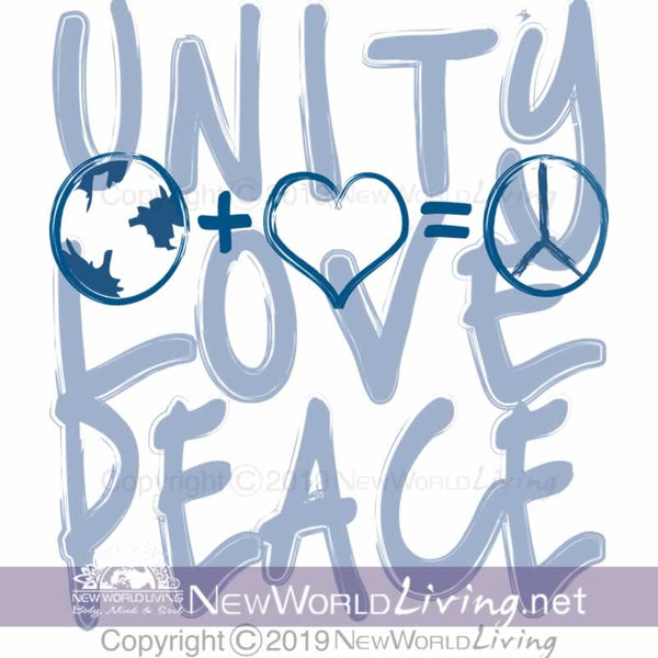 Unity + Love = Peace shortsleeve unisex tshirt features a tailored, modern fit, yet still has a relaxed, comfortable feel. T-shirt comes in sizes XS - 3XL.