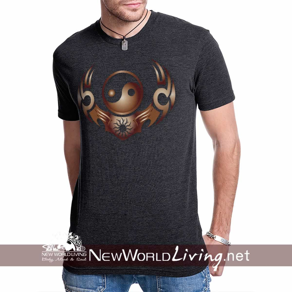 Men's short sleeve Yin Yang T-shirt sold exclusively by New World Living, in S-3XL in 7 colors. Mens casual fashion.