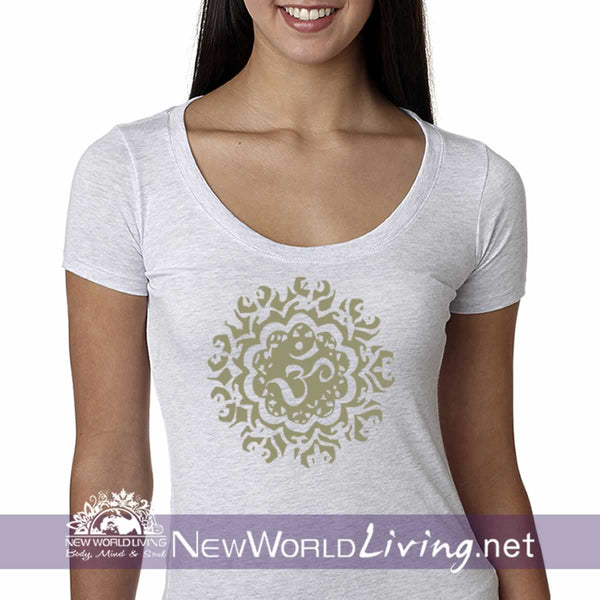 Ancient Om Ladies Triblend Scoop Tshirt