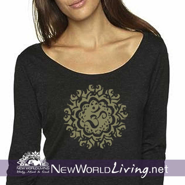 Ancient Om Ladies Triblend Scoop LS Tshirt