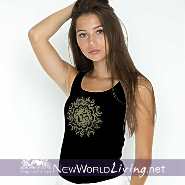 Ancient Om women's black lightweight, semi-contoured, classic tank top, S-2XL in 4 colors, sold exclusively at New World Living.