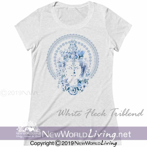Our Blue Goddess Womens Triblend Deep Crew Neck Tshirt is extra lightweight and features a uniquely soft heather fabrication, modern feminine fit, and a comfortable deep crew neck. S-2XL. Sold exclusively by New World Living Apparel.