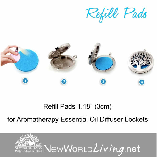 "Aromatherapy Refill Pads 1.18"" (3cm) for Essential Oil Diffuser Lockets"