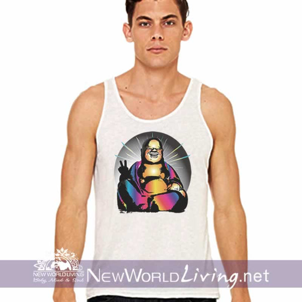 Mens extra light tank top in white, in sizes Small through 2XL, in 5 colors. The Cool Buddha design is sold exclusively by New World Living.