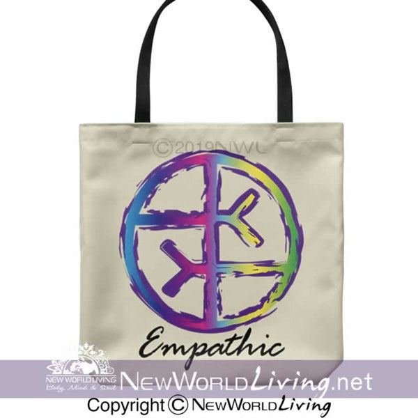 "We created our Empathic tote bag to celebrate empaths and highly sensitive people. Sold exclusively at New World Living. It is 18"" x 18"", with a 1"" wide, comfortable cotton shoulder strap, in your choice of 5 colors. The perfect gift for positive, high vibe people."