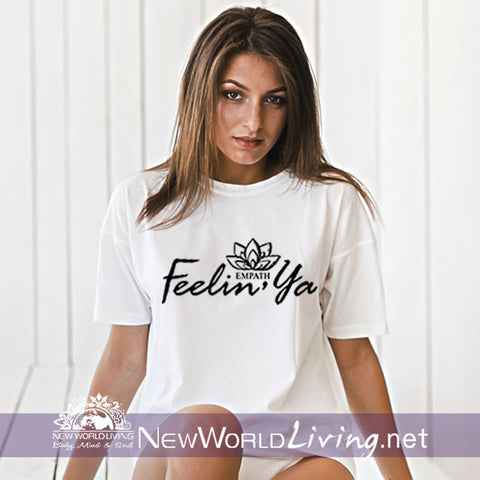 Our Feelin' Ya t-shirt is a lightweight, short sleeve tshirt with a tailored, modern fit. It has a crew neck and a relaxed, comfortable feel. Everything you want in a well-loved Empath tee!