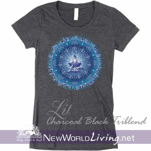 Womens charcoal black Lit short sleeve shirt, lightweight heather tshirt, semi-fitted positive tee, with a deep crew neck. Our metaphysical design represents spiritual awakening and is sold exclusively by New World Living