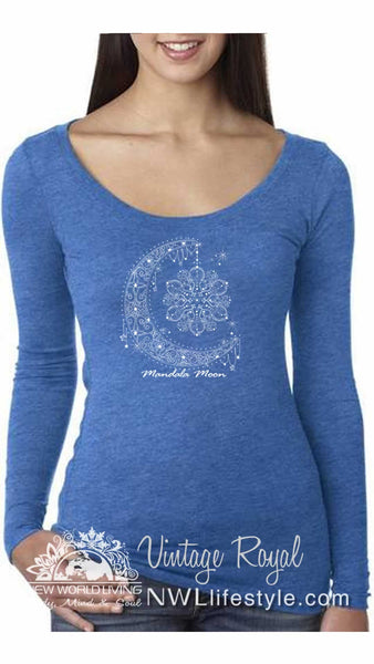 Mandala Moon Ladies Triblend Scoop LS Tshirt