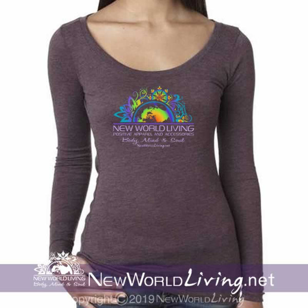 Our New World Living Logo, long sleeve, triblend shirt is lightweight with a modern fem fit and a deep, flattering scoop neck. Available exclusively at New World Living.
