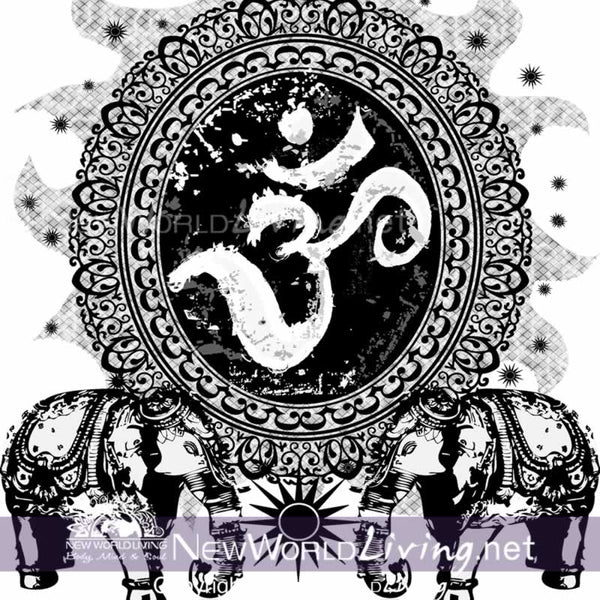 Om Cameo original artwork available exclusively at New World Living Apparel and Accessories.