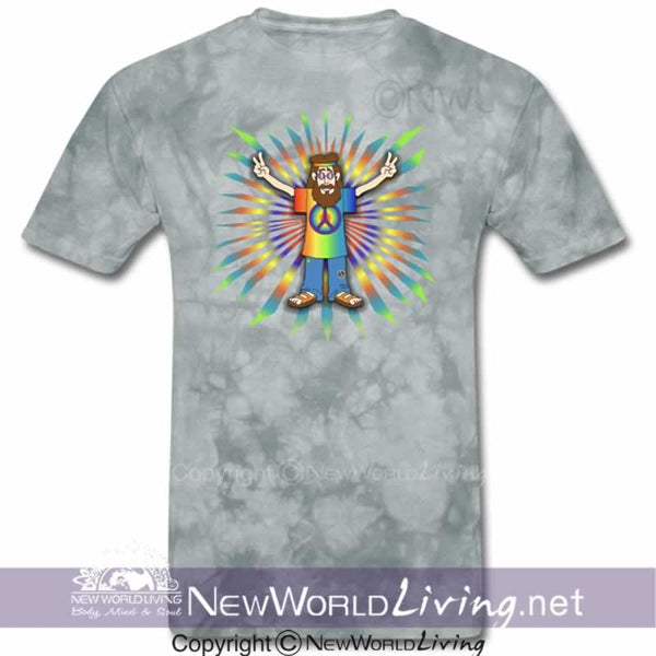 Our Peace Man Men's short sleeve T-shirt is a comfortable 5.0 oz. mid-weight fabric, has double-stitched seams, and comes in sizes S-3XL, in your choice of colors. Sold exclusively at New World Living.