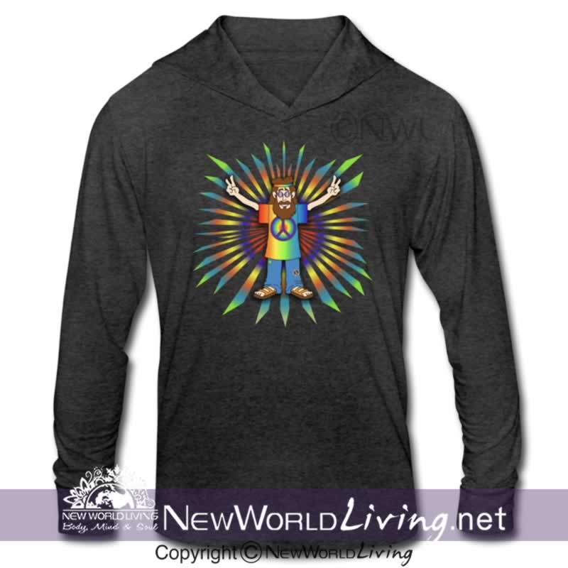 Our Peace Man mens long sleeve triblend hoodie shirt is a comfortable, lightweight 4.3 oz. fabric, making it perfect to wear on its own, or layered. In your choice of 3 heather colors. Sold exclusively at New World Living.