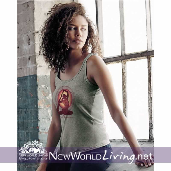 Yoga Pigeon Pose women's grey lightweight, semi-contoured, classic tank top, S-2XL in 5 colors. Sold exclusively at New World Living.