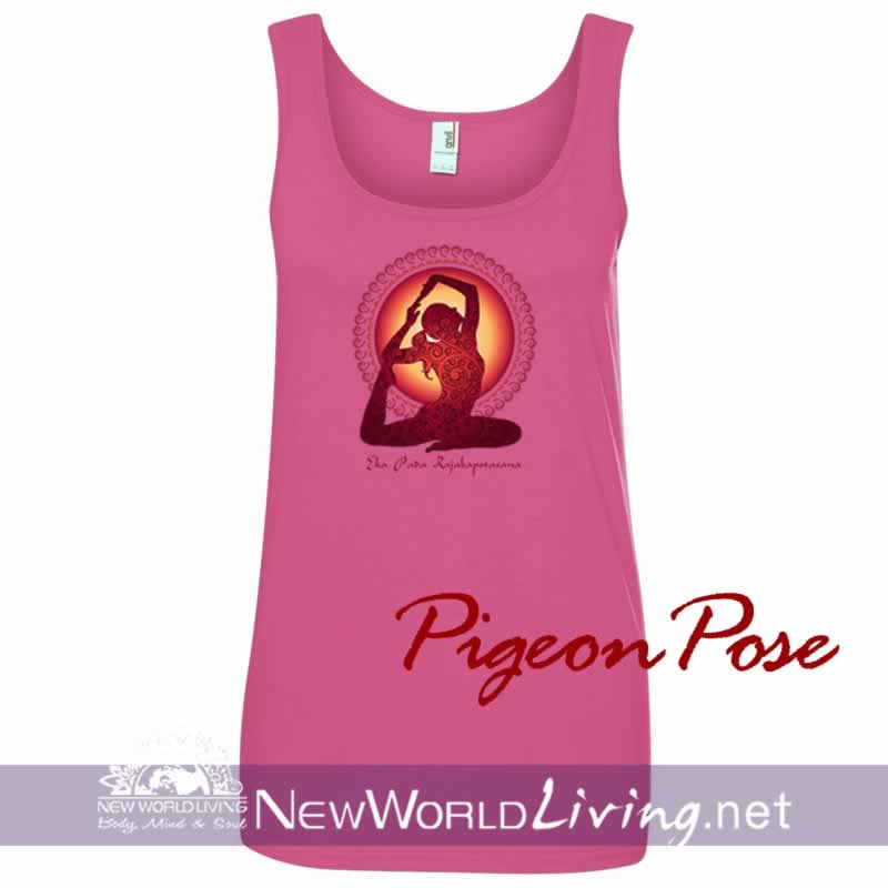 Pigeon Pose  women's pink lightweight, semi-contoured, classic tank top, S-2XL in 5 colors. Sold exclusively at New World Living.