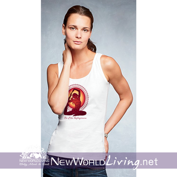 Pigeon Pose  women's white lightweight, semi-contoured, classic tank top, S-2XL in 4 colors, sold exclusively at New World Living.
