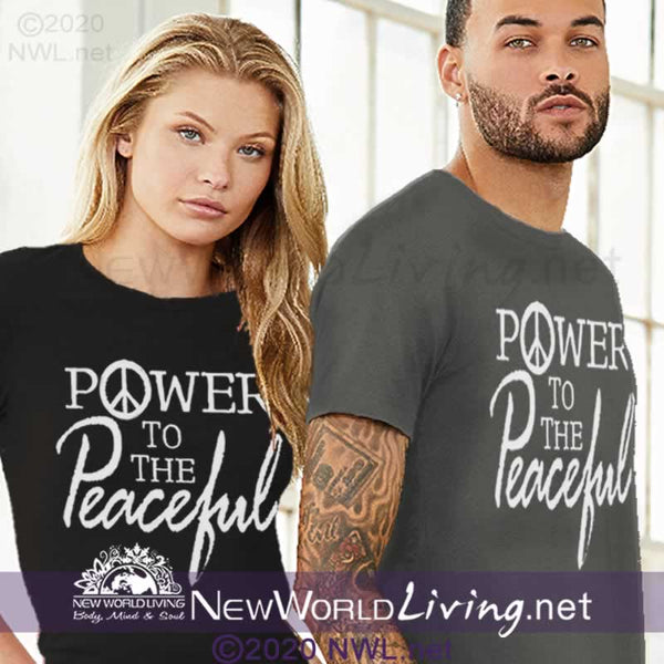 Our Power To The Peaceful tshirt features a tailored, modern fit, yet still has a relaxed, comfortable feel. Everything you want in a well-loved tee. T-shirt comes in sizes XS - 4XL