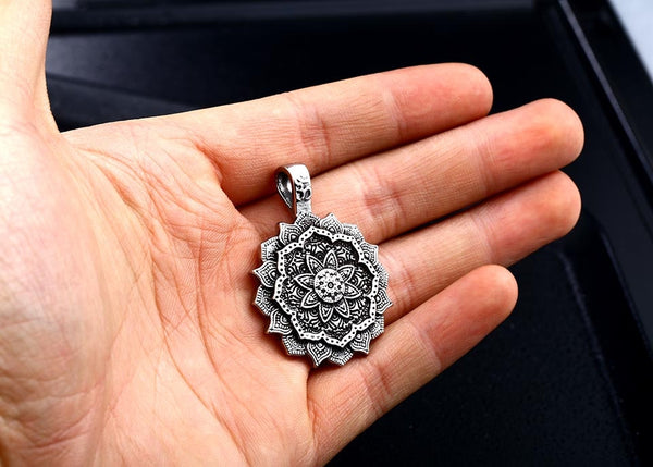 Our Mandala Pendant Necklace is the perfect high vibe addition to any outfit. The perfect gift, this positive necklace ships FREE for a limited time at New World Living.