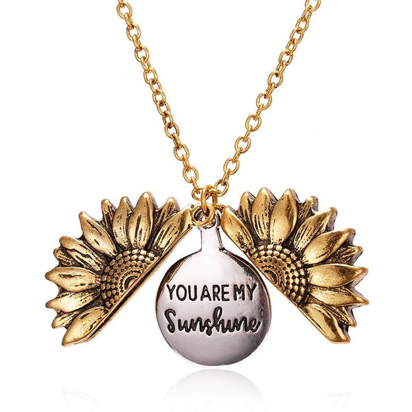 jewelry, pendant, necklace, Locket, sunflower opens to reveal a hidden message: You Are My Sunshine. positive, free gift box, free shipping