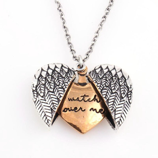 jewelry, angel wings, necklace, Locket, opens to reveal a hidden message: Watch over me. positive, free shipping, new world living
