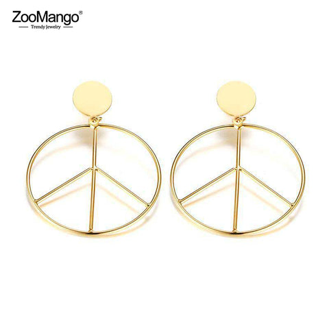 Peace sign earrings are stainless steel and hypo allergenic. Free shipping at New World Living Apparel and Accessories.