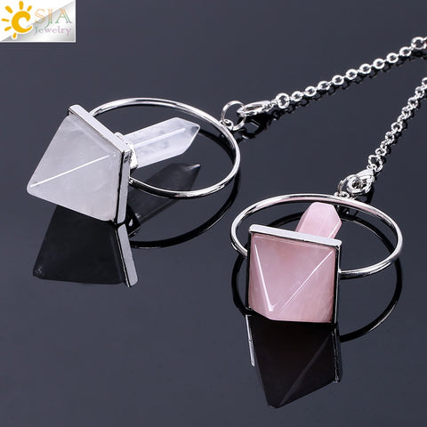 Reiki, pendulum, crystal, pyramid, pendant, White Crystal, Rose Quartz,