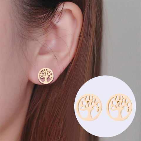 Tree Of Life Stainless Steel Stud Earrings
