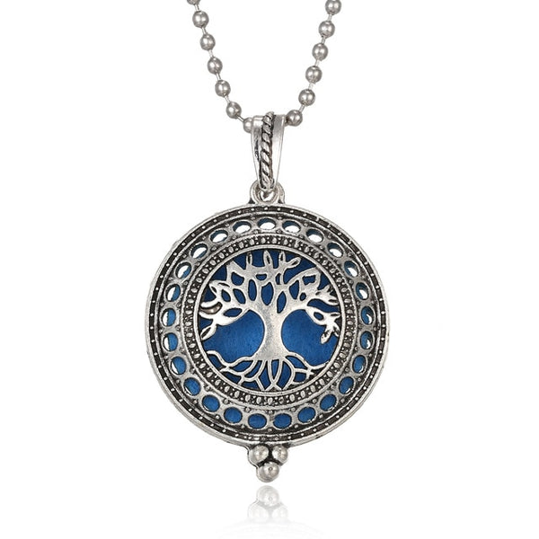 "This pendent necklace is an aromatherapy diffuser! Saturate the felt pad with your favorite essential oil or perfume. Take your favorite scents with you in this high vibe locket pendent sold at New World Living. It has a 31.5"" chain and includes a free felt pad. Free shipping for a limited time."