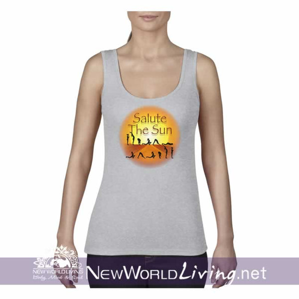 Salute The Sun women's grey lightweight, semi-contoured, classic yoga tank top, S-2XL in 5 colors, sold exclusively at New World Living.