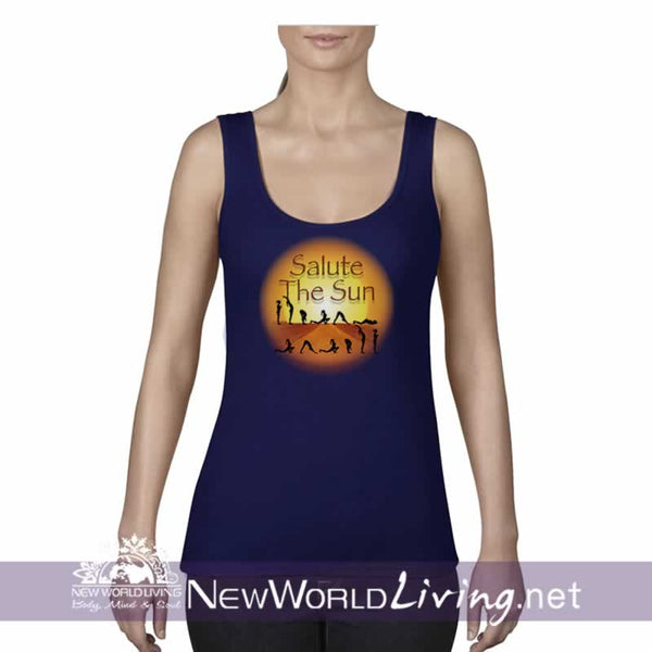Salute The Sun women's navy lightweight, semi-contoured, classic yoga tank top, S-2XL in 5 colors, sold exclusively at New World Living.
