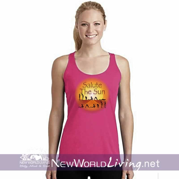 Salute The Sun women's pink lightweight, semi-contoured, classic yoga tank top, S-2XL in 5 colors, sold exclusively at New World Living.