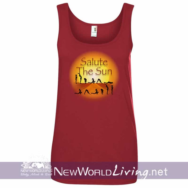 Salute The Sun women's red lightweight, semi-contoured, classic yoga tank top, S-2XL in 5 colors, sold exclusively at New World Living.