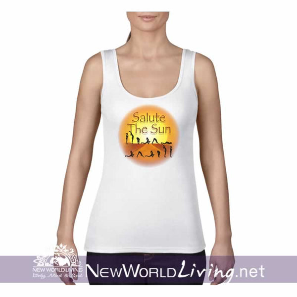 Salute The Sun women's lightweight, semi-contoured, classic yoga tank top, S-2XL in 5 colors, sold exclusively at New World Living.