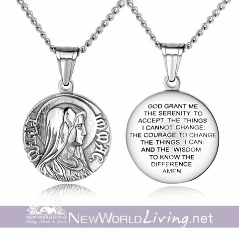 jewelry, serenity prayer, necklace, titanium, pendant, gift ideas, New World Living Apparel and Accessories
