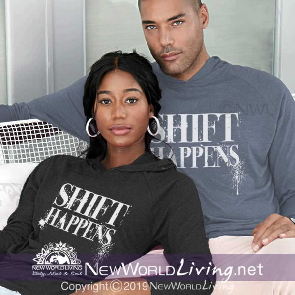 Our Shift Happens  tri-blend, long sleeve, hoodie shirt has a soft, comfy fit and tear away label. Tshirt available in sizes S - 2XL, in your choice of colors.