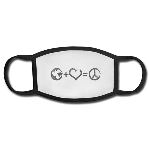 Unity + Love = Peace Adult Face Mask - white/black