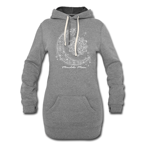 Mandala Moon Womens Hoodie Dress - heather gray