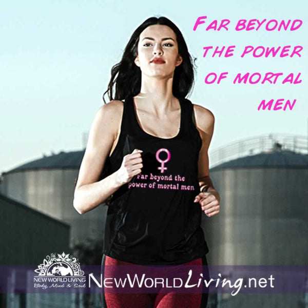 Superwoman women's black lightweight, semi-contoured, classic tank top, S-2XL in 4 colors, sold exclusively at New World Living.