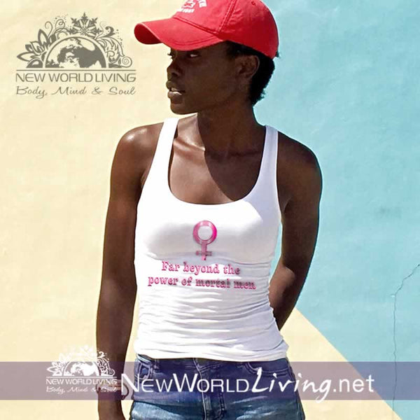 Superwoman women's white lightweight, semi-contoured, classic tank top, S-2XL in 4 colors, sold exclusively at New World Living.