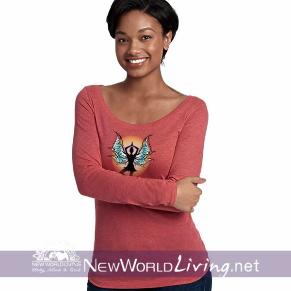 Tree Pose Yoga Fairy Ladies LS Scoop Neck Shirt