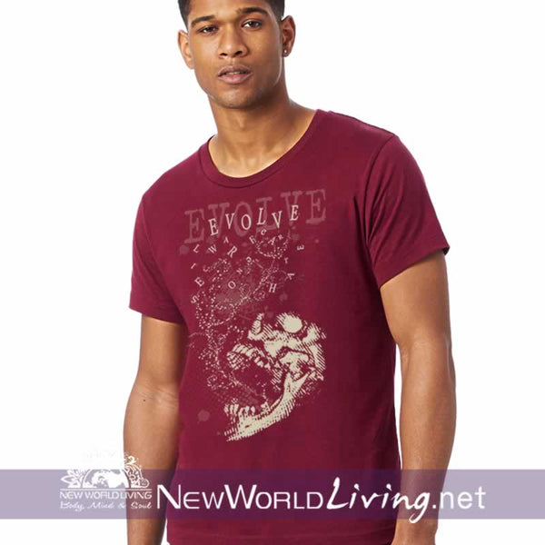 Evolve Men's shortsleeve burgundy t-shirt with double-stitched seams at the shoulder, sleeve, collar and waist, and comes in 5 solid and mineral wash colors sold exclusively at New World Living.