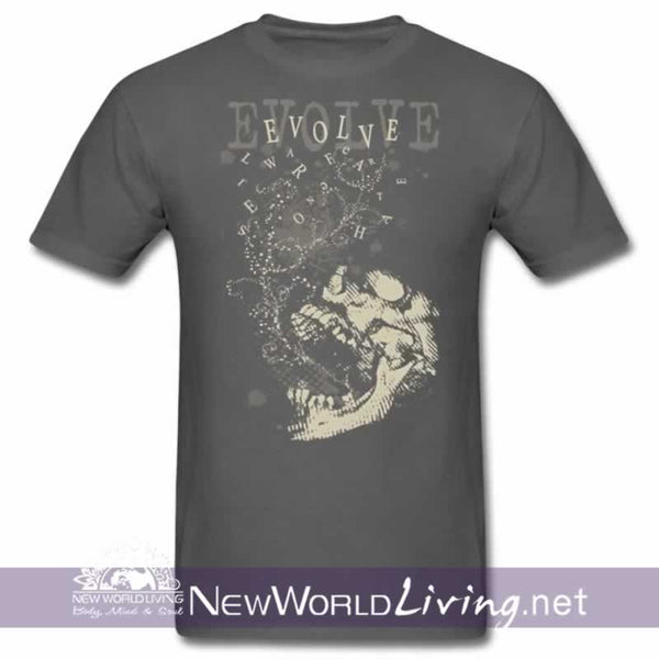 Evolve Men's shortsleeve charcoal t-shirt with double-stitched seams at the shoulder, sleeve, collar and waist, and comes in 5 solid and mineral wash colors sold exclusively at New World Living.
