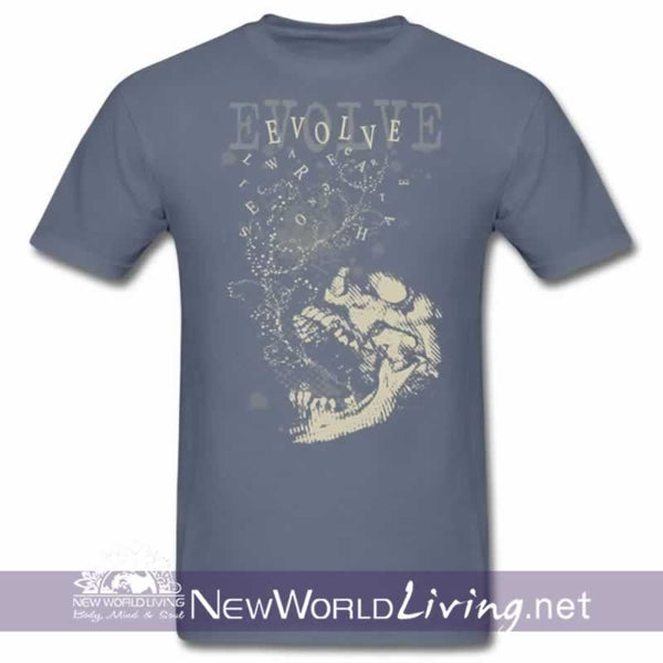 Evolve Men's shortsleeve denim t-shirt with double-stitched seams at the shoulder, sleeve, collar and waist, and comes in 5 solid and mineral wash colors sold exclusively at New World Living.