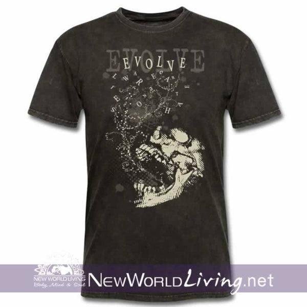 Evolve Men's shortsleeve burgundy t-shirt in mineral wash black with double-stitched seams at the shoulder, sleeve, collar and waist, and comes in 5 solid and mineral wash colors sold exclusively at New World Living.