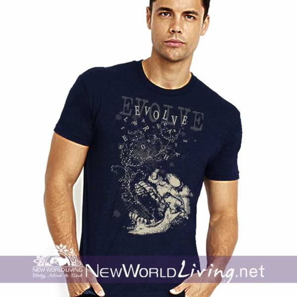 Men's T-Shirt - navy Evolve Men's shortsleeve t-shirt with double-stitched seams at the shoulder, sleeve, collar and waist, and comes in 5 solid and mineral wash colors sold exclusively at New World Living.