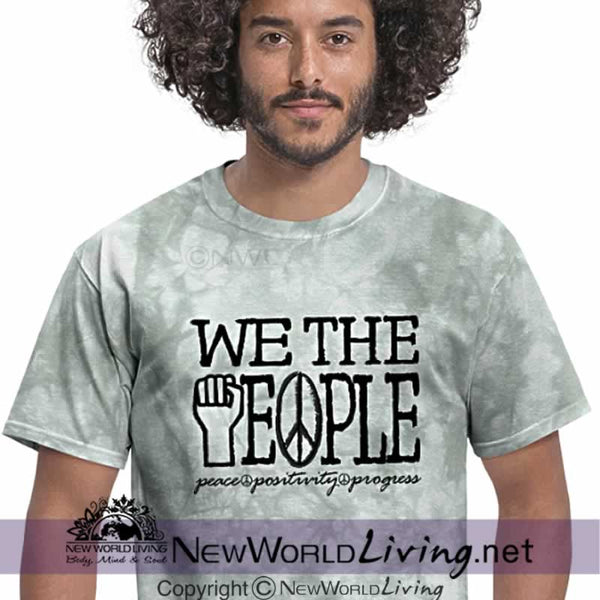 Be the change. Power to peace, positivity and progress. Our powerful We The People statement tee is a comfortable 5 oz. mid-weight short sleeve tshirt. Sold exclusively at New World Living.