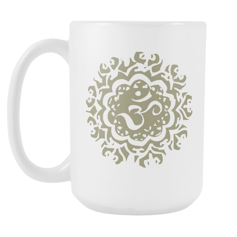 Our Ancient Om 15 oz mug is sold exclusively at New World Living. It is high gloss ceramic with a premium finish. It's dishwasher and microwave safe, and printed on both sides. Perfect for positive, high vibe coffee lovers.
