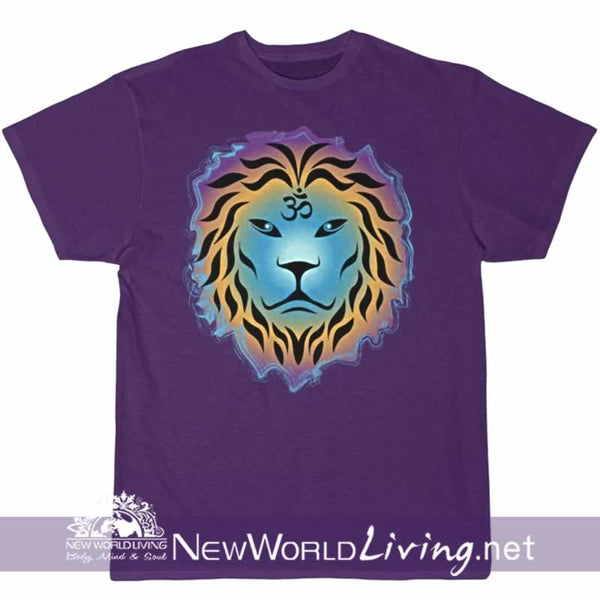 Zen Lion in purple with short sleeves, relaxed fit, spiritual t-shirt. This positive tee comes in S - 4XL. Sold exclusively at New World Living.
