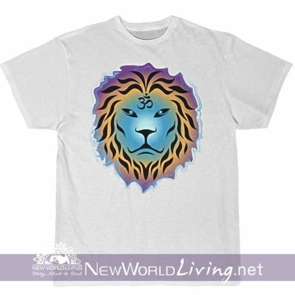 Zen Lion in white with short sleeves, relaxed fit, spiritual t-shirt. This positive tee comes in S - 4XL. Sold exclusively at New World Living.