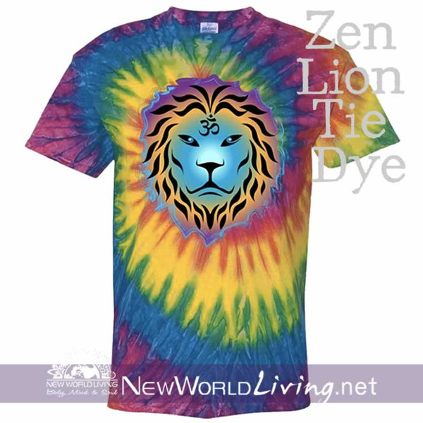 This is our moondance tie dyed, Zen Lion, short sleeve, spiritual t-shirt. This unique, positive tee comes in sizes S - 5XL in your choice of 6 colors. Sold exclusively at New World Living.