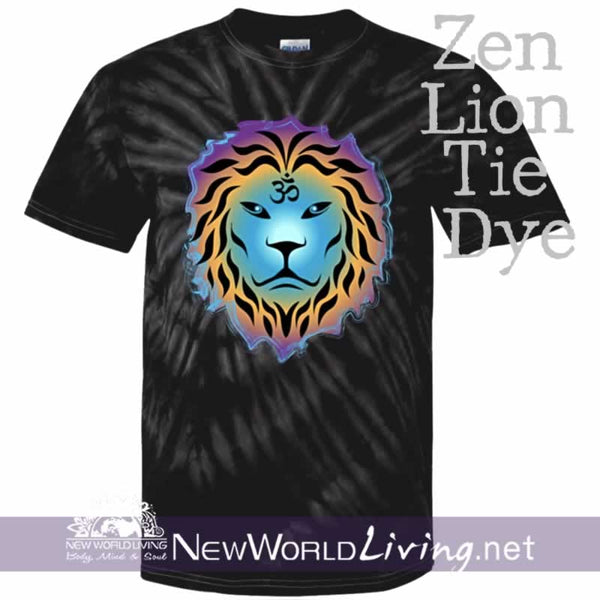 This is our spider black tie dyed, Zen Lion, short sleeve, spiritual t-shirt. This unique, positive tee comes in sizes S - 5XL in your choice of 6 colors. Sold exclusively at New World Living.